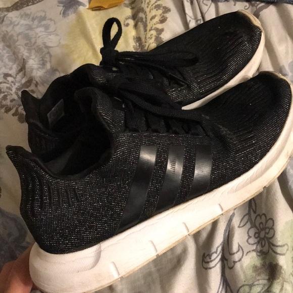 adidas black glitter shoes